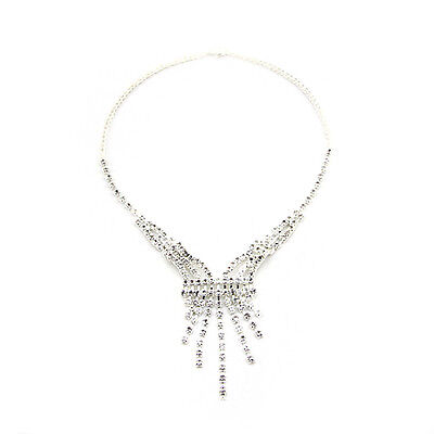 New Diamante Crystal Jewellery Necklace Pendent Wedding Bride Party Type 2 Silve