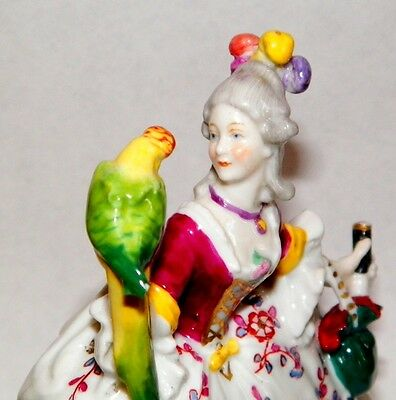 Edwardian Porcelain Lady With Parrot & Sword Figure By Dresden