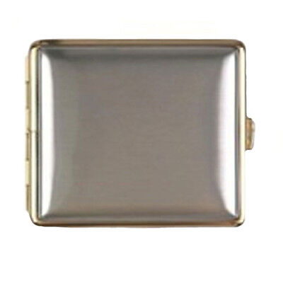 Brushed Warm Gold Chrome Cigarette Case Hold 18 Cigarettes SMO967