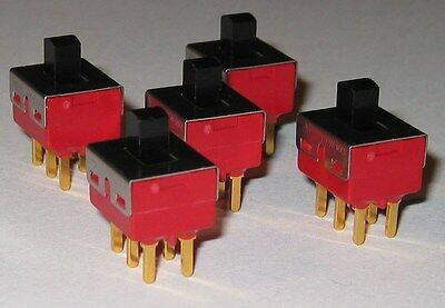5X C&K 1201 DPDT Miniature Slide Switch - 20 V AC / DC - PC Board Mount - 0.4 VA