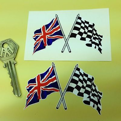 Crossed Union Jack & Chequered Flag 3 inch Car stickers