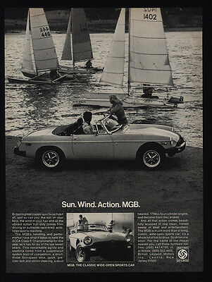 1978 MG MGB Convertible Sports Car - Sail Boats - Sun. Wind. Action.  VINTAGE AD