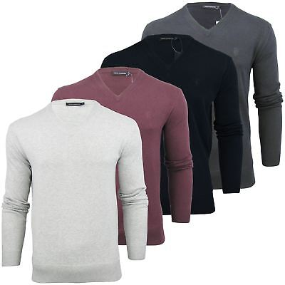 New Men/'s French Connection V Neck Jumper Sweater New RRP£60 XL XXL Fcuk Blue