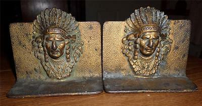 Vintage Cast Iron Bronze Plated? American Indian Chief Bookends Nice Patina PS