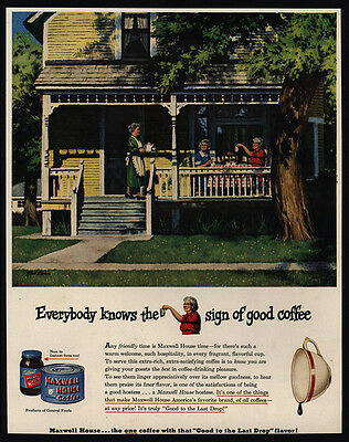1944 MAXWELL HOUSE Coffee - Woman On Front Porch - STAN ELKMAN Art - VINTAGE AD
