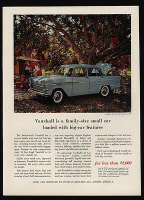 1960 VAUXHALL British Car - Family Camping - Tent - Pontiac - VINTAGE AD