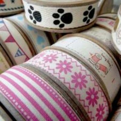 57 Types Natural Decorative Novelty Printed Cotton Ribbons 5m Reel,India Tape