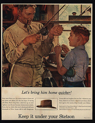 1944 STETSON Hat - WWII - U.S. Soldier - Seargent & Boy Fishing - VINTAGE AD