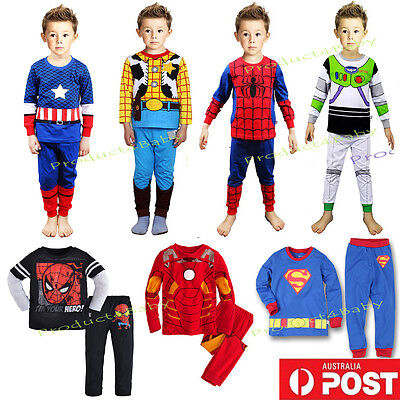 New Boy Pyjamas Sleepwares Long Sleeves Superheros Pyj Set Size 2,3,4,5,6,7