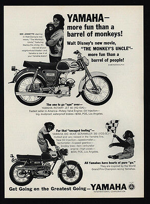 1965 YAMAHA 80 & 250 Motorcycle Disney ANNETTE FUNICELLO & Chimpanzee VINTAGE AD