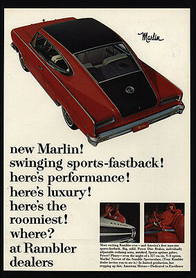 1965 RAMBLER MARLIN Fastback Red Muscle Car - American Motor Company VINTAGE AD