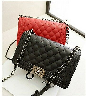 Classic Fashion Women's Quilted Faux Leather Chain Purse Shoulder Bag  2 Color