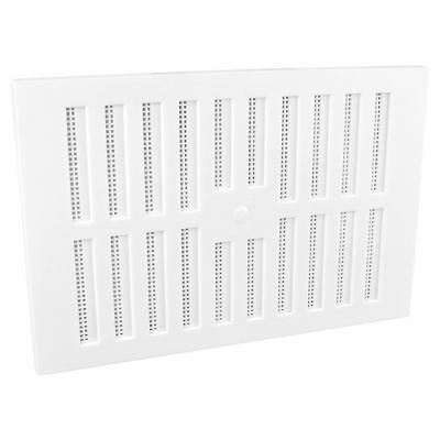 """9"""" x 6"""" White Plastic Adjustable Air Vent Grille with Flyscreen Cover"""