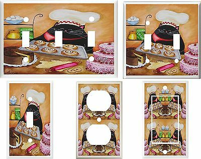 Fat Cat Pastry Chef  Light Switch Plate  Covers Multi Sizes