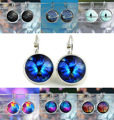 Silver Leverback Earrings - Fantasy Animal Art Space Picture Ladies Womens Gift