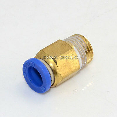 """Male 1/4"""" - 8mm Straight Push in Fitting Pneumatic Push to Connect Air"""