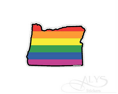 Oregon State Map Rainbow flag gay pride Decals & Stickers