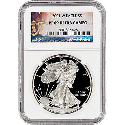 2001-W American Silver Eagle Proof - NGC PF69 UCAM - West Point Label
