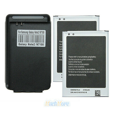 2 x 3100mAh Battery + Dock Charger for SamSung Galaxy Note2 Note II N7100 NEW