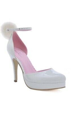 Adult Womens Cottontail Bunny Playboy White High Heel Costume Shoes Accessory
