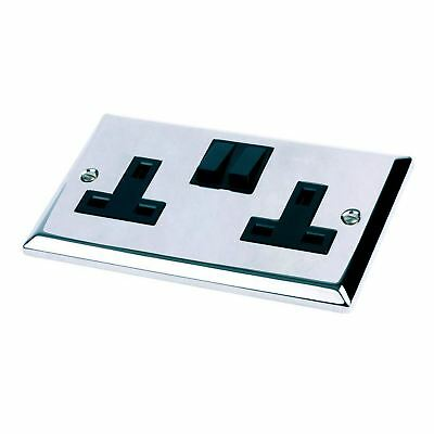 Double Socket Polished Chrome 2 Gang Bright Mirror Electric 240 v
