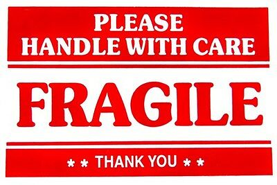 F1 2x3 FRAGILE HANDLE WITH CARE Stickers, Easy Peel and Apply Self Adhesive