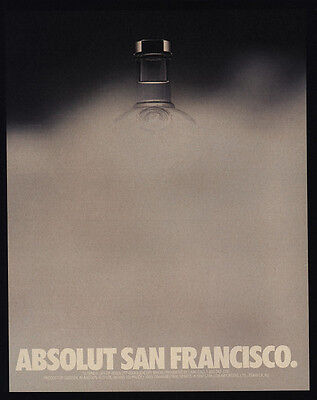 1990 ABSOLUT San Francisco Vodka - Fog - VINTAGE AD