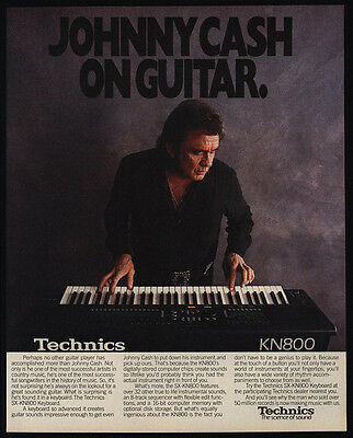 1990 JOHNNY CASH Playing TECHNICS KN800 Keyboard - Country Music - VINTAGE AD