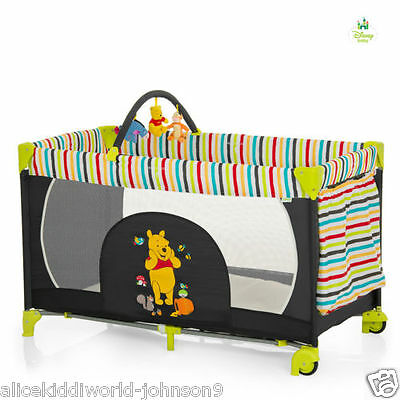 New Hauck Disney Winnie the pooh tidy time wheeled Playpen Travel cot +Toybar