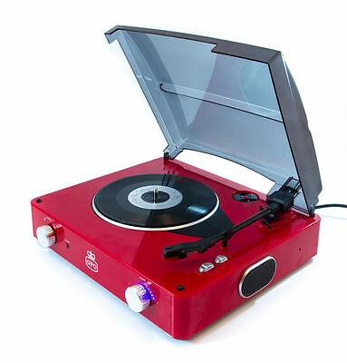 GPO Stylo 3 speed Turntable Vinyl Record Player Red