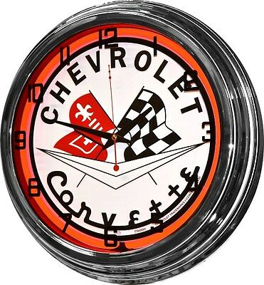 "17"" Corvette Chevy Chevrolet Red Neon Retro Wall Clock Automotive Garage Sign"