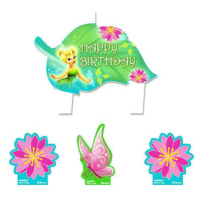 Tinkerbell Party Supplies Candle Mini Moulded Pack Of 4