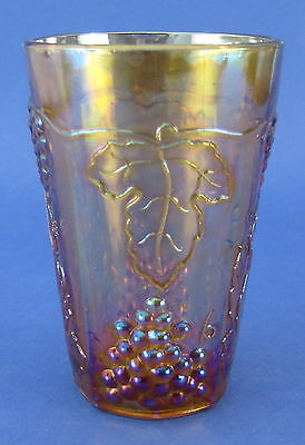 Indiana Harvest Grape Carnival Juice Glass Iridescent Gold Purple AS IS