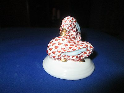HEREND-HUNGRY-TWO-RUSTY-FISHNET-GOLD ACCENT-BUNNIES-ON BASE-MINT CONDITION