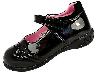 Girls Black Patent Mary Jane Flashing Light School Shoe Chatterbox 4-12Uk