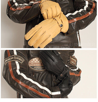 Motorcycle Warm Winter Leather Gloves A Grade Genuine Leather Warm Winter Gloves