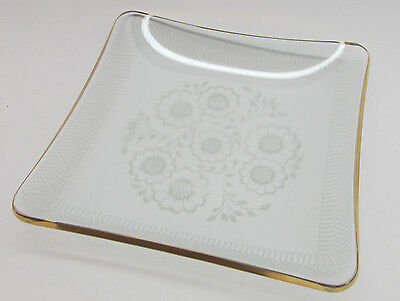 Goldtone Edged Delicate Glass/Floral Ashtray