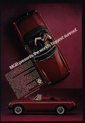 "1976 MG MGB Red Convertible Sports Car - ""World's Biggest Sunroof"" - VINTAGE AD"