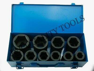 """10 PC 1"""" ONE INCH DRIVE DR LARGE SIZE AIR BLACK IMPACT SOCKET WRENCH TOOL SET"""