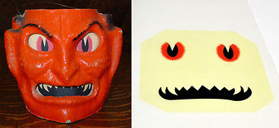 Glassine Paper Replacement Face For Small Devil Halloween Paper Mache Lantern #f