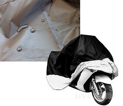 L Large Motorcycle Waterproof Outdoor Motorbike Rain Vented Bike Cover Black