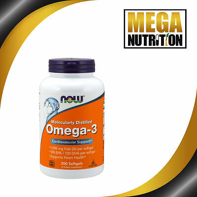 NOW Foods Omega-3 180 EPA/120 DHA 200 Softgels | Fish Oils Fatty Cardio Support