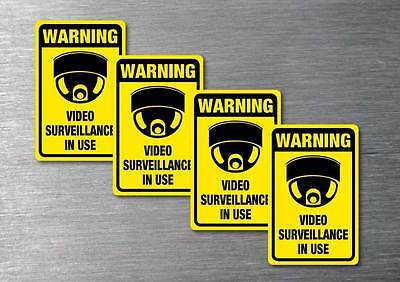Video Surveillance warning stickers 4 pack 7 yr quality water & fade proof vinyl