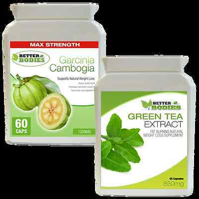 60 Garcinia Cambogia 1000Mg & 60 Green Tea Extract 850Mg Weight Loss Diet Pills