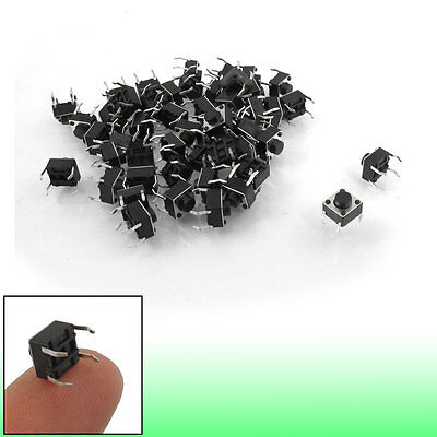 50 Pcs 6x6x5mm 4-Pin DIP Through Hole Momentary Tactile Push Button Switch