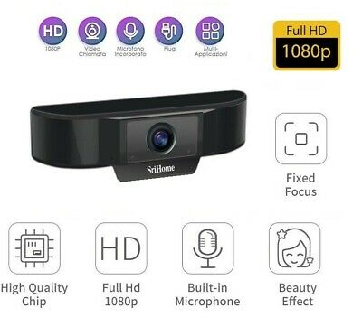 Webcam HD Pro Videochiamata Full HD PER pc Con Doppio Microfono USB 1080p VIDEO