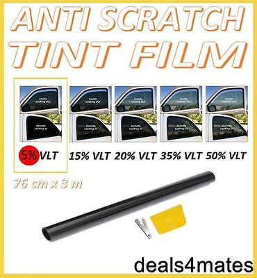 NON-SCRATCH CAR VAN HOME WINDOW TINT FILM SUPER DARK LIMO BLACK  5% 76cm x 3M