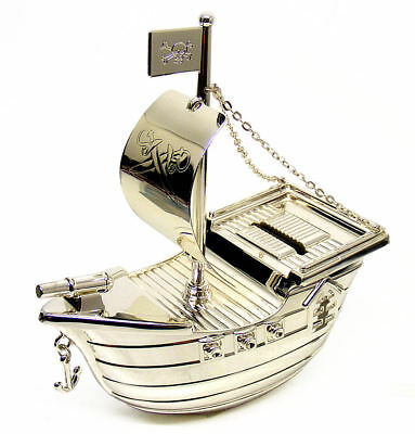 Personalised Silver Plated Pirate Ship Money Box Engraved Birthday Gift Idea