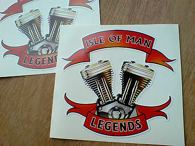 ISLE OF MAN LEGENDS All Moto & TT Fans Motorcycle Stickers Decals 2 off 100mm