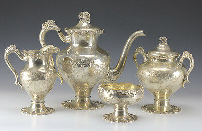 4pc Set English 19th century EPNS Silverplate Footed Coffee and Tea Service